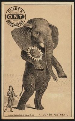 Anonym: Jumbo aesthetic: Clark's O.N.T. Spool Cotton, Lithographie, 13 x 8 cm, ca. 1870–1900, Ersteller: N. Y. : Buek & Lindner Lith.; Bildquelle: Boston Public Library Collection: 19th Century American Trade Cards, Accession No.: 10_03_002447a, https://www.flickr.com/photos/boston_public_library/9564244888/in/photolist-fyUXEt-fzafMh-fyUXp4-fzafMW-g7SfvF-fxUXDA-fzafQG-fzafD5-fxEEMk-fzafyL-fyUXkX-fzafEh-fzaicL-fzafL3-fzafHq-e3gwLU-6rKc9u-g7Rqec-g7RwfG-6dsQXB-fyUZYz-fzafV3-e3gwKu-g7RwBy-g7RKHm, Creative Commons Attribution 2.0 Generic license, https://creativecommons.org/licenses/by-nc-nd/2.0/.