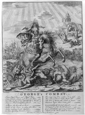 George's Combat, Kupferstich, 1745, unbekannter Künstler; Bildquelle: Library of Congress, LC-USZ62-76312, http://www.loc.gov/pictures/item/2002699083/.