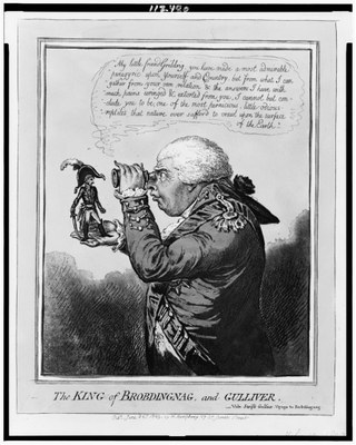 Gillray, James (1756–1815): The king of Brobdingnag and Gulliver, Aquatinta, 1803; Bildquelle: Library of Congress, LC-USZ62-112480, http://www.loc.gov/pictures/resource/cph.3c12480/.