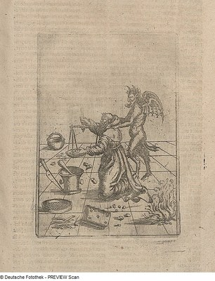 Monk creating gunpowder with the devil behind his back 1603