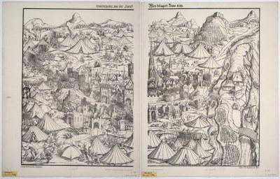 Hans Guldenmundt (gest. 1560), Contrafactur, wie der Turck Wien belagert, Lithographie nach einem Holzschnitt, 1869; Bildquelle: SLUB Dresden, Deutsche Fotothek (http://www.deutschefotothek.de) und Kartensammlung (http://www.deutschefotothek.de/info/kartenforum.html) Inv.-Nr. SLUB/KS B1015-B1016 & SLUB/KS B1015 & SLUB/KS B1016, Permalink: http://www.deutschefotothek.de/?df_dk_0011133.