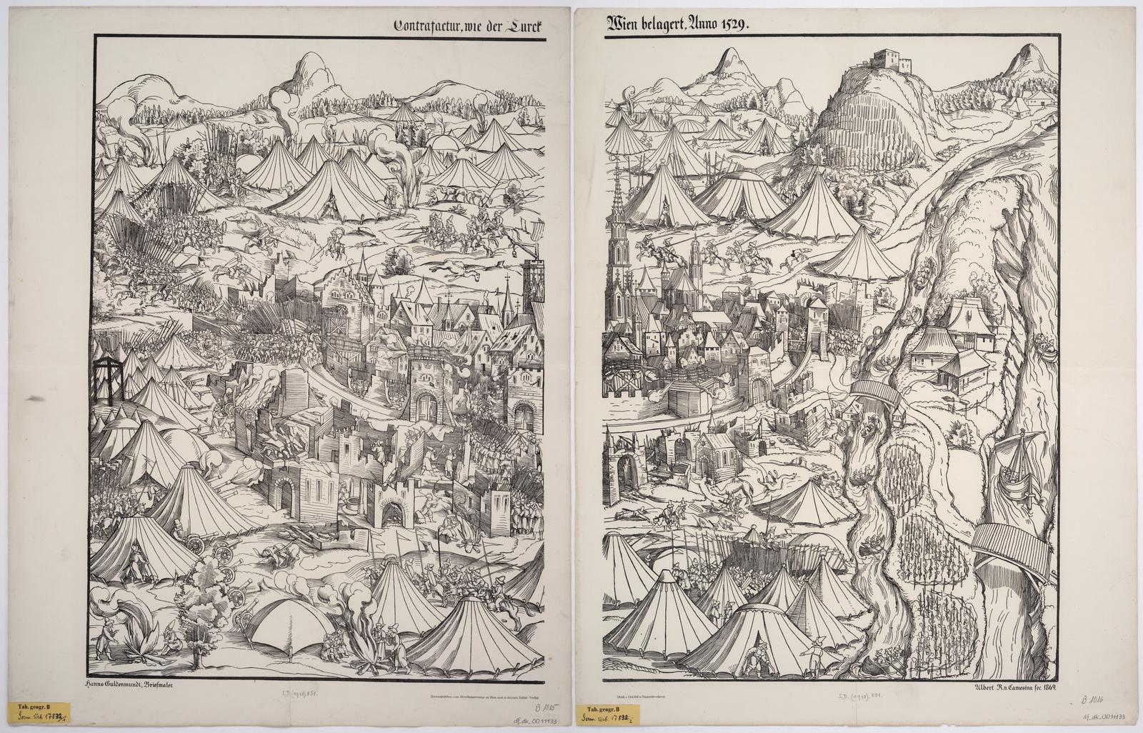 Hanns Guldenmundt, Contrafactur, wie der Turck Wien belagert, Lithographie, 1869 ; Quelle: SLUB Dresden, Deutsche Fotothek und Kartensammlung Inv.-Nr. SLUB/KS B1015-B1016 & SLUB/KS B1015 & SLUB/KS B1016 ), http://www.deutschefotothek.de/info/kartenforum.html