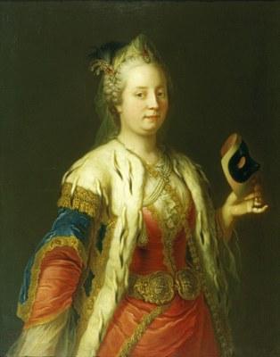 Martin van Meytens (1695–1770), Maria Theresia mit Maske in einem türkischen Gewand, um 1744; Bildquelle: © Schloß Schönbrunn Kultur- und Betriebsges.m.b.H.