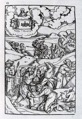 Matthias Gerung (1500–1570), Holzschnitt zum Apokalypsenkommentar des Berner Predigers Sebastian Meyer (1465–1545), 1544 bis 1558, Bildquelle: Codex germanicus 6592; Bayerische Staatsbibliothek, München.
