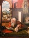 [Joos van Cleve (1485–ca. 1540)]: Der hl. Hieronymus in seiner Klause (Ausschnitt), Öl auf Leinwand, ca. 1500–1540, Photograph: Jürgen F. Schopp; Bildquelle: Kathedralmuseum Burgos (Spanien).