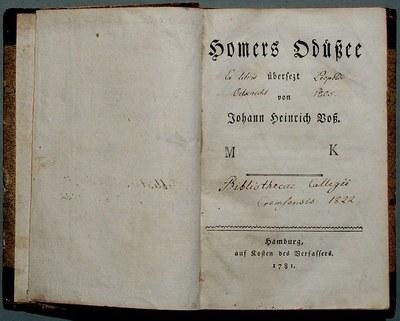 Johann Heinrich Voß (1751–1826): Homers Odüßee, Hamburg 1781, Farbphotographie, 2008, Photograph: H.-P.Haack; Bildquelle: Wikimedia Commons, http://de.wikipedia.org/w/index.php?title=Datei:Vo%C3%9F,_Johann_Heinrich-_Homers_Od%C3%BC%C3%9Fee.jpg&filetimestamp=20100913013055