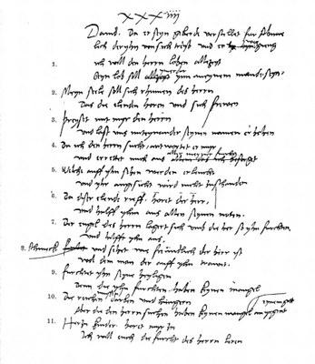 Martin Luther (1483–1546): Übersetzung der ersten elf Verse des 34. Psalms, undatiert; aus: Inter Nationes (Hg.): Martin Luther – 450 Jahre Reformation, Bonn-Bad Godesberg 1967, S. 67.