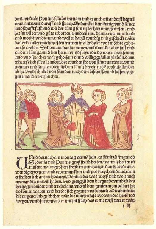 Eleonore von Österreich (1433–1480): Pontus und Sidonia, Textseite, unbekannter Künstler, 1498; aus: Stephan Füssel: Gutenberg und seine Wirkung, Darmstadt 1999, Tafel 39.