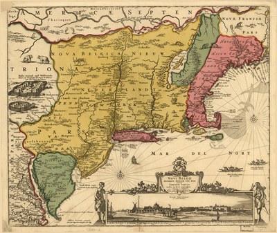 Nicolaes Visscher (I) (1618–1679), Novi Belgii Novæque Angliæ nec non partis Virginiæ tabula, Karte, handkoloriert, 46 x 55 cm; Quelle: Library of Congress Geography and Map Division; Digital ID g3715 ct000001, http://hdl.loc.gov/loc.gmd/g3715.ct000001, gemeinfrei.