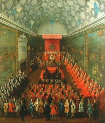 Peter Tillemans (ca. 1684–1734), Queen Anne (1665–1714) in the House of Lords, Öl auf Leinwand, 139.8 x 122.9 cm, ca. 1708–1714; Bildquelle: Royal Collection Trust/© Her Majesty Queen Elizabeth II 2014, OM 489, http://www.royalcollection.org.uk/collection/405301/queen-anne-1665-1714-in-the-house-of-lords.