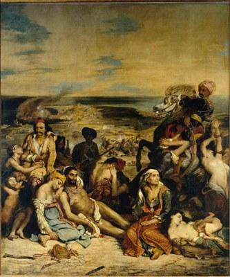 Eugène Delacroix (1798–1863), Das Massaker von Chios, Öl auf Leinwand, 419x354 cm, 1824; Bildquelle: © Bildagentur für Kunst Kultur und Geschichte (bpk) | RMN | Félicien Faillet, Bildnummer: 00051163, Standort des Originals: Musée du Louvre, Paris