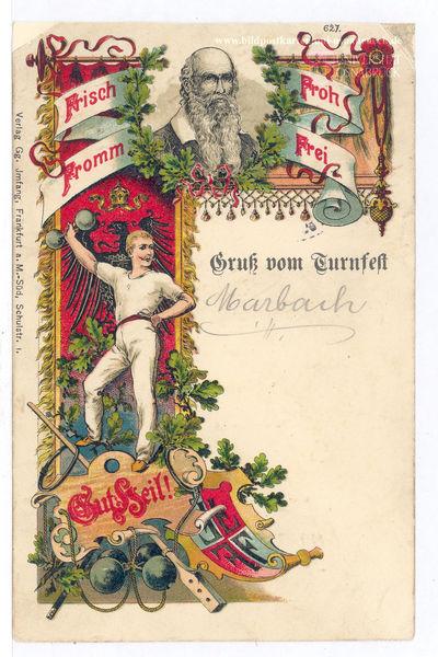 Frisch-fromm-froh-frei – Gruß vom Turnfest, farbige Bildpostkarte, Deutschland, ohne Datum [1908/1912], gelaufen 03.06.1912, Verlag Gg. Jmfang, Frankfurt a.M.-Süd, Schulstr. I.; Bildquelle: Historische Bildpostkarten, Universität Osnabrück, Sammlung Prof. Dr. S. Giesbrecht, http://www.bildpostkarten.uni-osnabrueck.de/displayimage.php?pos=-4991.