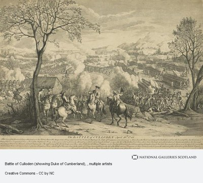 Augustin Heckel, The Battle of Culloden, engraving, size unknown, 1746 (Reprinted 1797); source: National Galleries of Scotland, http://www.nationalgalleries.org/collection/artists-a-z/H/117/artist_name/Augustin%20Heckel/record_id/22357