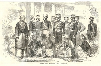 Unknown artist, Group of Sepoys at Lucknow,from a photograph, from the Illustrated London News, original size/medium unknown, 1857.
