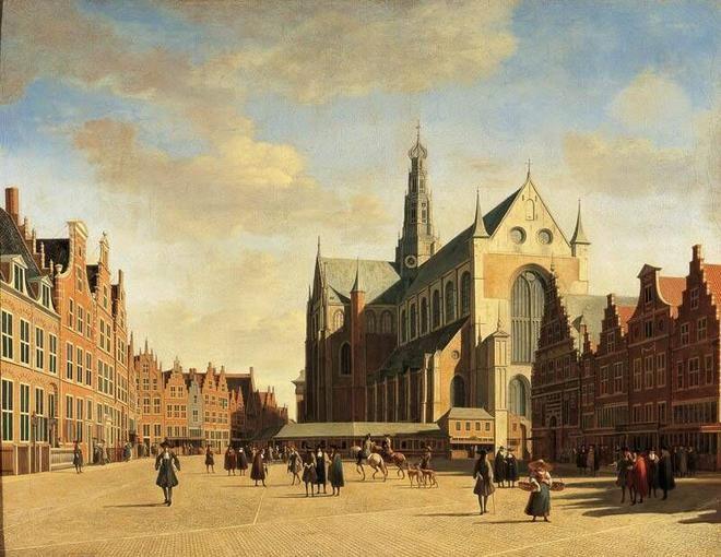 Gerrit Adriaensz Berckheyde, The Grote Markt in Haarlem with the Grote or St Bavokerk, 1696