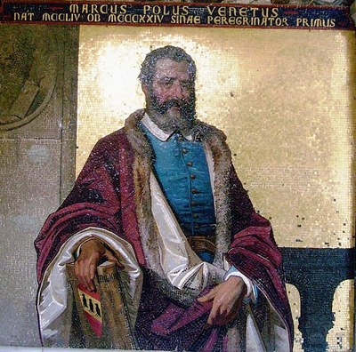 Marco Polo (1254–1324), Mosaik in der Villa Hanbury, Ventimiglia, Italien, 2010, unbekannter Künstler, Photograph: Lotho2; Bildquelle: Wikimedia Commons, http://commons.wikimedia.org/wiki/File:Marco-polo-hanbury.JPG.