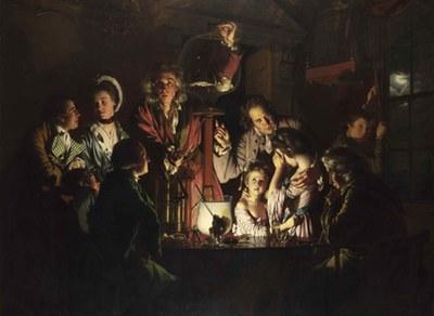 Joseph Wright of Derby (1734–1797), An Experiment on a Bird in the Air Pump, Öl auf Leinwand, 1768; Bildquelle: © National Gallery, London, http://www.nationalgallery.org.uk/paintings/joseph-wright-of-derby-an-experiment-on-a-bird-in-the-air-pump.