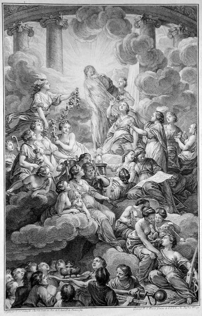 Benoît-Louis Prévost (1735–1804), Frontispiece der Encyclopédie, Gravur nach einer Zeichnung von Charles-Nicolas Cochin (1715–1790), 1804; Bildquelle: Wikimedia Commons, http://commons.wikimedia.org/wiki/File:Encyclopedie_frontispice_full.jpg?uselang=de, gemeinfrei.