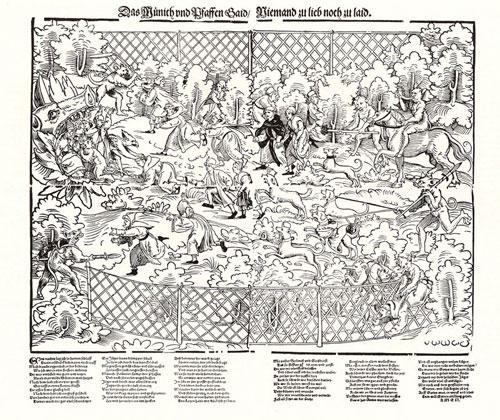 Erhard Schön (1491–1542), Jagd auf Mönche und Pfaffen, Flugblatt mit Holzschnitt und Typendruck, 44,8x50cm, undatiert [um 1525], Text von Hans Sachs (1494–1576) (Werke, Bd. 22, S. 316-318; Bd. 25, Re.Nr. 1576), Geisberg/Strauss Nr. 1090, Bildquelle: © Bildagentur für Kunst, Kultur und Geschichte (bpk); Bildnummer XXXXX???, Standort des Originals: Berlin, Kupferstichkabinett (Staatliche Museen zu Berlin, Preußischer Kulturbesitz).