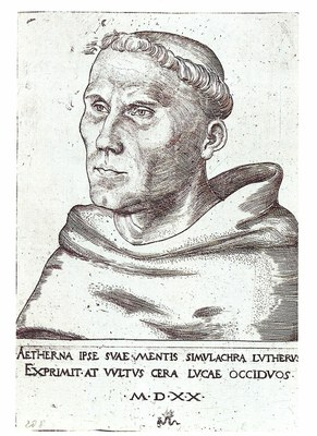 Lucas Cranach d.Ä. (1472–1553), Martin Luther als Augustinermönch, Kupferstich, 14,1x9,8cm (3. Zustand), 1520; Bildquelle: © Lutherhaus, Wittenberg (Stiftung Luthergedenkstätten in Sachsen-Anhalt), Inv.-Nr. 4° IV 208, http://www.martinluther.de/de/stiftung.html.