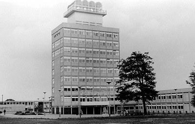 Town Hall, Harlow, Schwarz-Weiß-Fotografie, 1971, unbekannter Fotograf; Bildquelle: http://www.geograph.org.uk/photo/2805198. Creative Commons License.