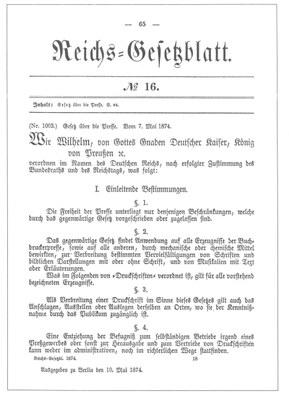 Gesetz über die Presse 1874 IMG